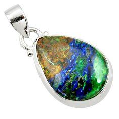 925 sterling silver 14.23cts natural green azurite malachite pear pendant r36250