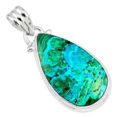 925 sterling silver 12.22cts natural green azurite malachite pear pendant r83340