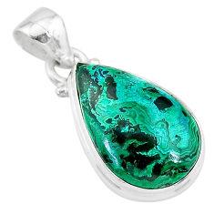 925 sterling silver 9.61cts natural green azurite malachite pear pendant t21510