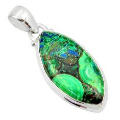 925 sterling silver 16.70cts natural green azurite malachite pendant r33873