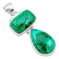 925 sterling silver 12.36cts natural green azurite malachite pendant t21446