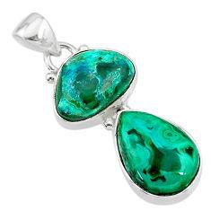925 sterling silver 9.59cts natural green azurite malachite pendant t21453