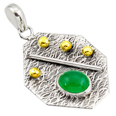 925 sterling silver 3.14cts natural green chalcedony 14k gold pendant r37164