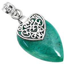 925 sterling silver 18.27cts natural green chalcedony heart pendant r91331