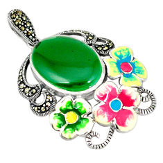 925 sterling silver natural green chalcedony marcasite enamel pendant c21469