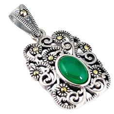 925 sterling silver natural green chalcedony marcasite pendant jewelry c21826
