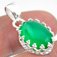 925 sterling silver 6.61cts natural green chalcedony oval crown pendant t43351