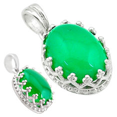925 sterling silver 6.28cts natural green chalcedony oval pendant jewelry t20464