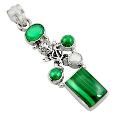 Clearance Sale- 925 sterling silver 11.83cts natural green chalcedony pearl angel pendant d42736