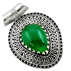925 sterling silver 13.26cts natural green chalcedony pendant jewelry d45028