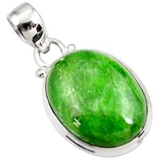 Clearance Sale- 925 sterling silver 16.57cts natural green chrome diopside oval pendant d42591