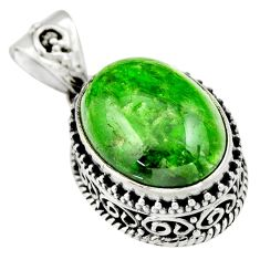 925 sterling silver 10.53cts natural green chrome diopside oval pendant r19023