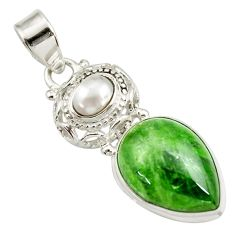 Clearance Sale- 925 sterling silver 14.72cts natural green chrome diopside pearl pendant d42003