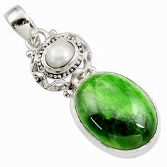Clearance Sale- 925 sterling silver 16.93cts natural green chrome diopside pearl pendant d42006