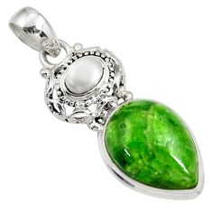 Clearance Sale- 925 sterling silver 15.16cts natural green chrome diopside pearl pendant d42653