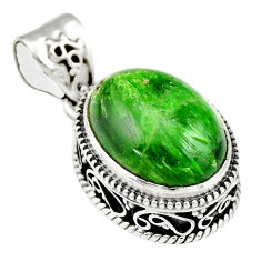 925 sterling silver 10.04cts natural green chrome diopside pendant r19027