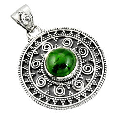 925 sterling silver 5.62cts natural green chrome diopside round pendant r20286