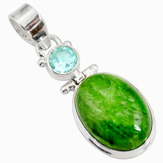 Clearance Sale- 925 sterling silver 14.68cts natural green chrome diopside topaz pendant d42604