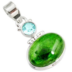 Clearance Sale- 925 sterling silver 15.08cts natural green chrome diopside topaz pendant d42609