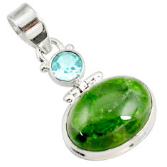 Clearance Sale- 925 sterling silver 14.47cts natural green chrome diopside topaz pendant d42620