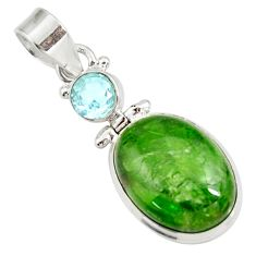 Clearance Sale- 925 sterling silver 15.65cts natural green chrome diopside topaz pendant d42624