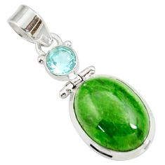 Clearance Sale- 925 sterling silver 15.15cts natural green chrome diopside topaz pendant d42628