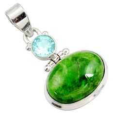 Clearance Sale- 925 sterling silver 15.55cts natural green chrome diopside topaz pendant d42632