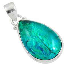 925 sterling silver 13.70cts natural green chrysocolla pear pendant r51164