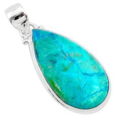 925 sterling silver 15.08cts natural green chrysocolla pear pendant r94896