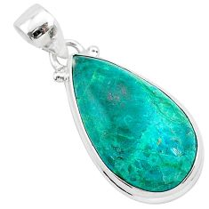 925 sterling silver 15.08cts natural green chrysocolla pear pendant r94899