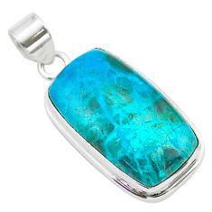 925 sterling silver 23.04cts natural green chrysocolla pendant jewelry t53856