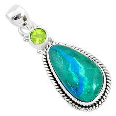 925 sterling silver 14.07cts natural green chrysocolla peridot pendant r94374
