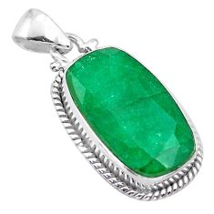 925 sterling silver 14.03cts natural green emerald octagan pendant t47212