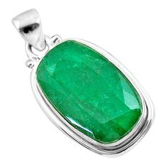 925 sterling silver 13.97cts natural green emerald octagan pendant t47219