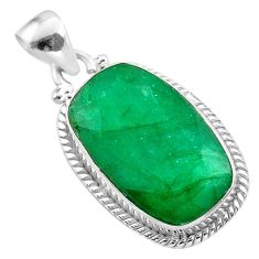 925 sterling silver 14.23cts natural green emerald octagan pendant t47225