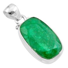 925 sterling silver 14.65cts natural green emerald octagan pendant t47231