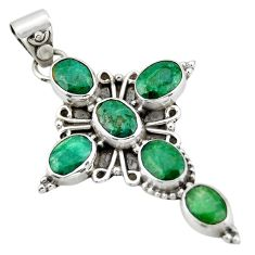925 sterling silver 9.04cts natural green emerald oval holy cross pendant r20771