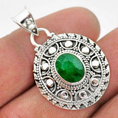 925 sterling silver 3.09cts natural green emerald oval pendant jewelry t42953