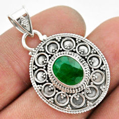 925 sterling silver 3.14cts natural green emerald oval pendant jewelry t42968
