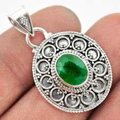 925 sterling silver 3.09cts natural green emerald oval pendant jewelry t42972