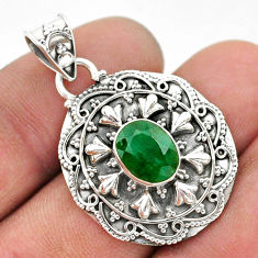 925 sterling silver 3.42cts natural green emerald oval shape pendant t42931