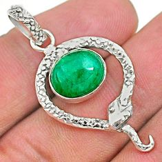 925 sterling silver 4.82cts natural green emerald oval snake pendant t35624