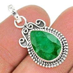 925 sterling silver 3.94cts natural green emerald pear pendant jewelry t35817
