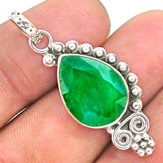 925 sterling silver 9.20cts natural green emerald pear pendant jewelry t35904