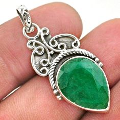 925 sterling silver 8.24cts natural green emerald pear pendant jewelry t40835