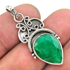 925 sterling silver 9.39cts natural green emerald pear pendant jewelry t40838