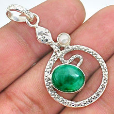 925 sterling silver 5.38cts natural green emerald pearl snake pendant t35508