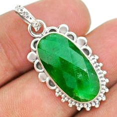 925 sterling silver 8.87cts natural green emerald pendant jewelry t35765