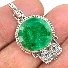 925 sterling silver 12.12cts natural green emerald pendant jewelry t35918