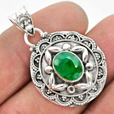 925 sterling silver 3.13cts natural green emerald pendant jewelry t42928